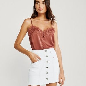 Abercrombie white denim button skirt
